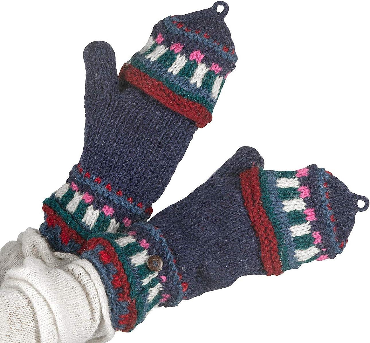 Soft Pure Wool Warm Winter Convertible Gloves Mittens Grey Snow Fleece Windproof