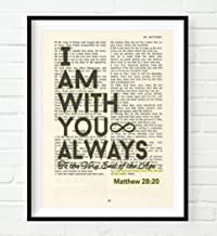 Vintage Bible Page Verse Scripture - I Am with You Always - Matthew 28:20 Christian Art Print, Unframed, Inspirational Encouragement Christian Wall and Home Decor, All Sizes