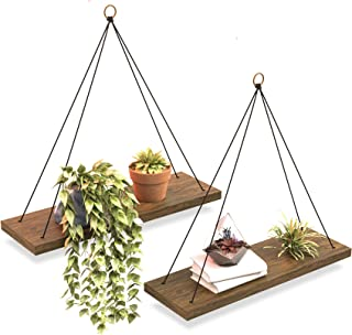 Boho Wall Hanging Shelf - Set of 2 Wood Hanging Shelves for Wall - Farmhouse Rope Shelves for Bedroom Living Room Bathroom - Rustic Wood Shelves - Hanging Plant Shelf - Triangle Floating Wood Shelves