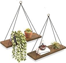 Boho Wall Hanging Shelf - Set of 2 Wood Hanging Shelves for Wall - Farmhouse Rope Shelves for Bedroom Living Room Bathroom - Rustic Wood Shelves - Hanging Wall Shelf - Triangle Floating Wood Shelves