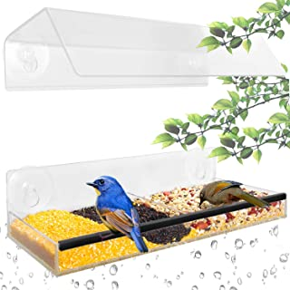 Ohuhu Acrylic Window Bird Feeder with Strong Suction Cups & Seed Tray, Unique Separation Design Birds Feeder with Adjustable Height, Wild Windowsill Feeder for All Weather
