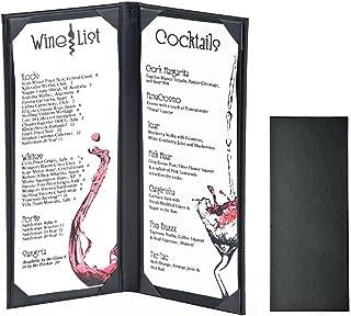 10PCS Leather Book Style Double Fold Panel Menu Cover Menu Holder Black - 11.4