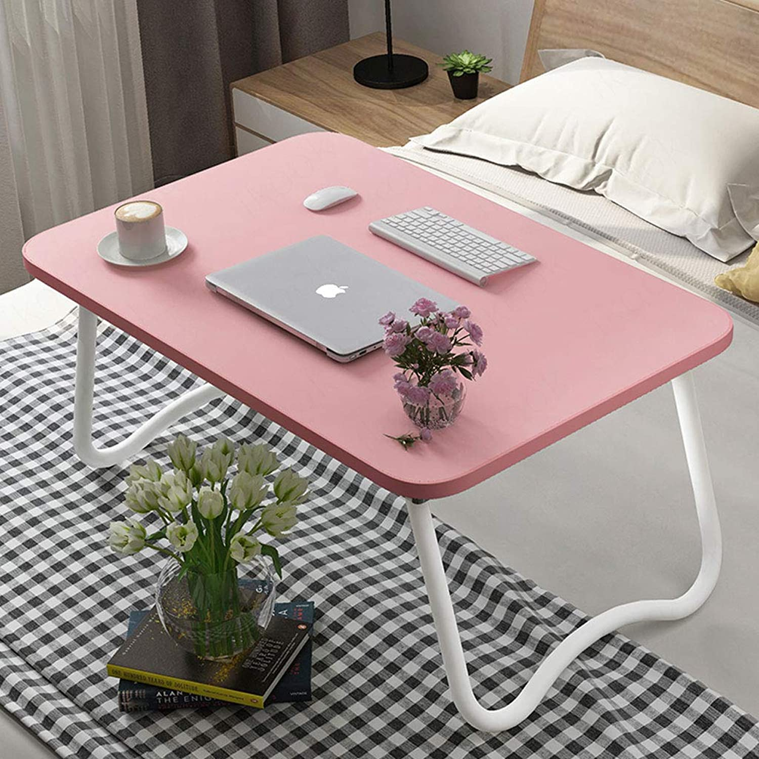 NJ Folding Table- Student Foldable Simple Computer Desk, Home Dormitory Study Desk (color   Pink, Size   60x40x28cm)