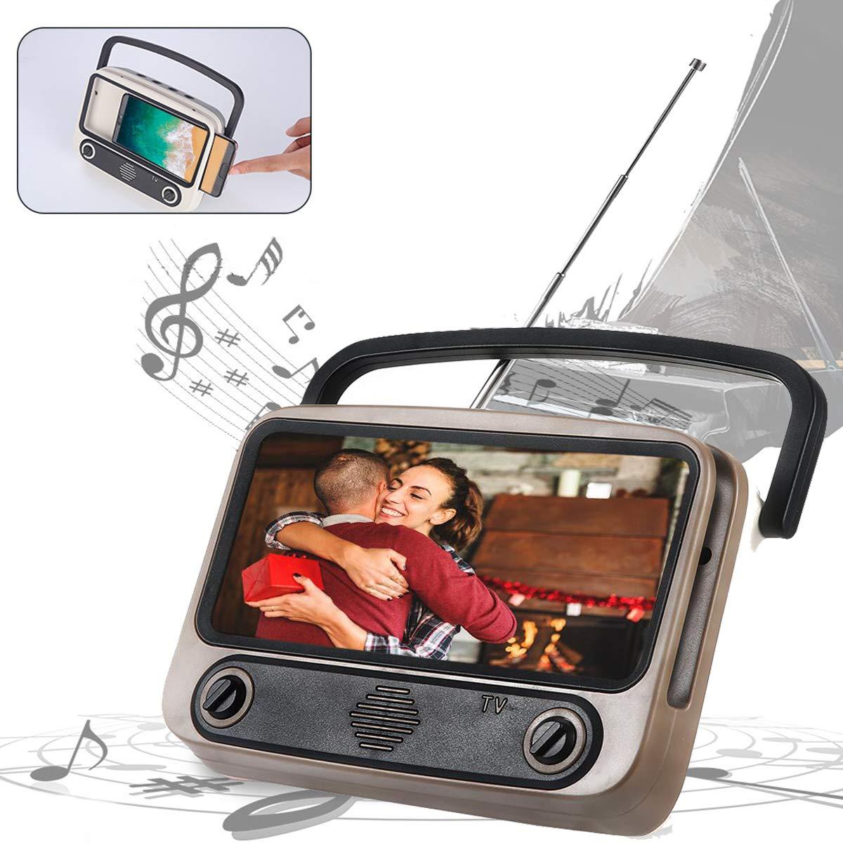 Volwco - Altavoz inalámbrico 3 en 1, estilo retro con soporte para teléfono, función de radio FM con antena, altavoz BT recargable por USB, accesorios ...