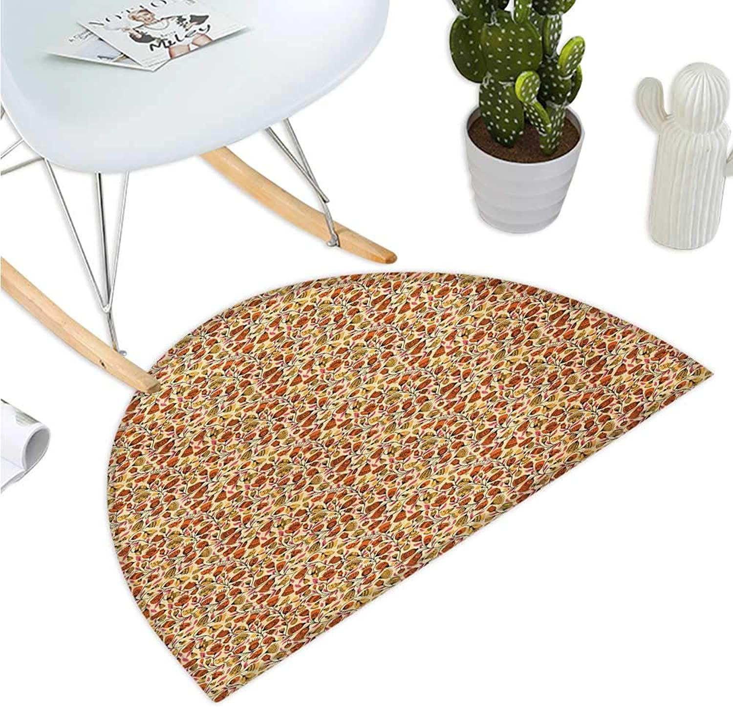 Floral Half Round Door mats Ornamental Pattern with Flowers and Birds Pink Leaves Artistic Garden Spring Nature Bathroom Mat H 35.4  xD 53.1  Multicolor