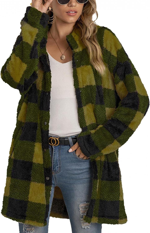 Women's Plaid Coat Faux Fur Fuzzy Warm Winter Jacket Casual Button Down Lapel Long Sleeve Coats Outerwear