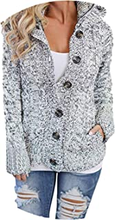 Womens Hooded Cable Knit Button Down Outwear Sweater Cardigans Coats with Pocket Warm Coat,Gray,S,C