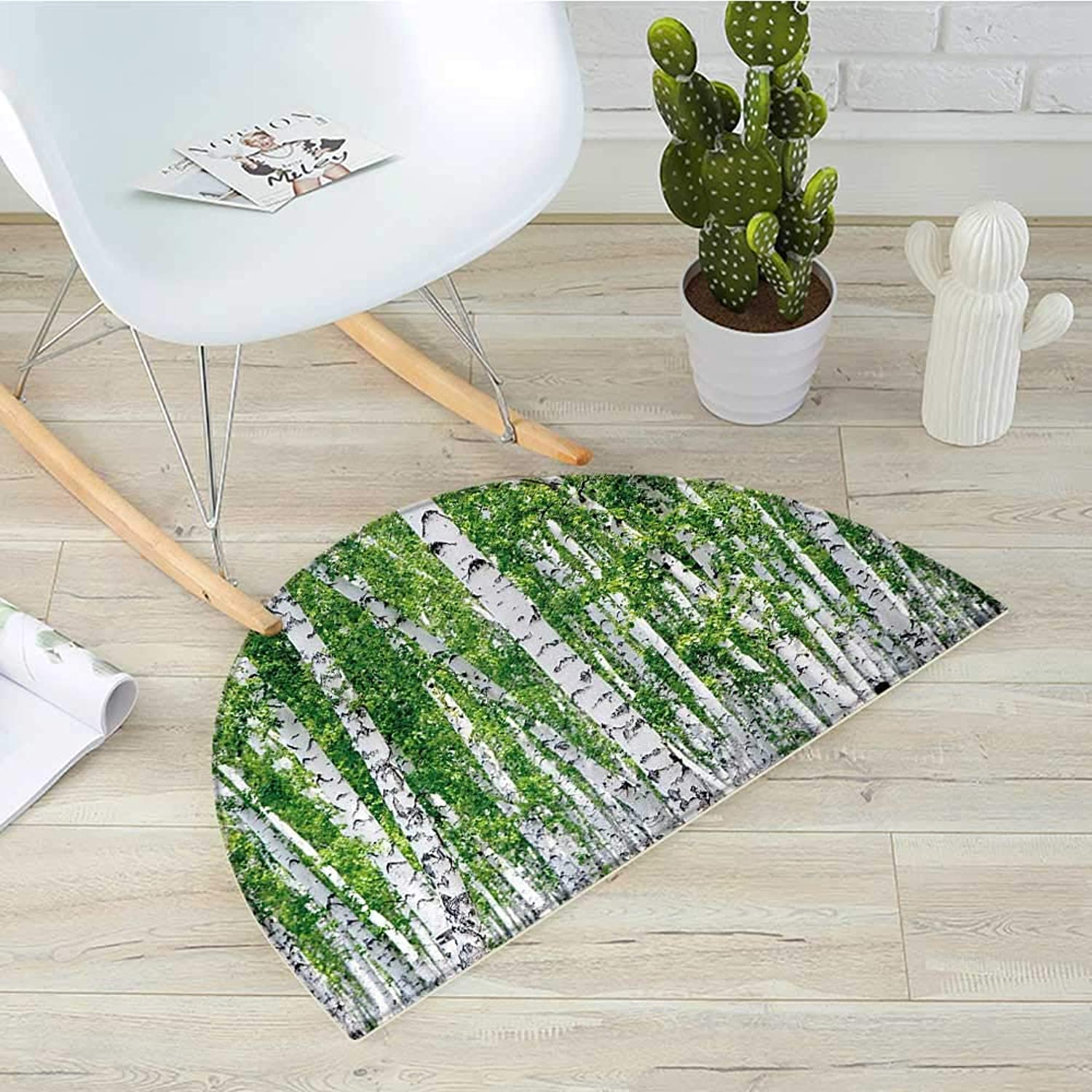 Birch Tree Semicircular CushionFresh Green Leaves Summer Forest Rural Landscape Lush Environmental Image Entry Door Mat H 39.3  xD 59  Green White Black