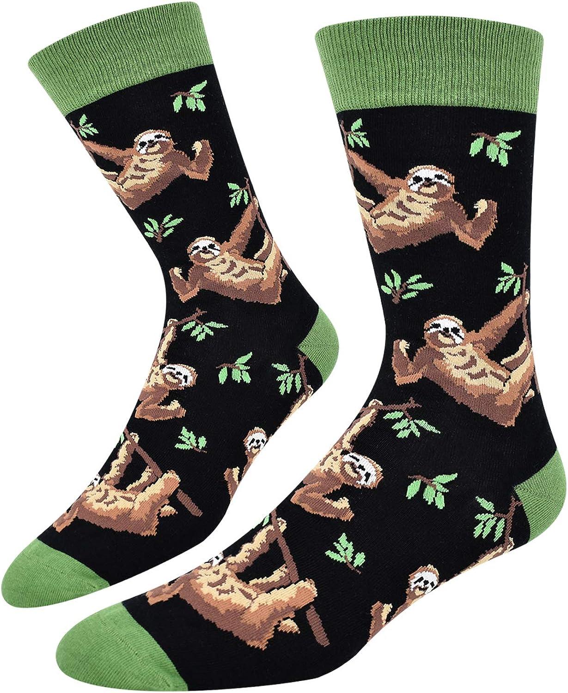 Amazon.com: Funny Crazy Sloth Crew Socks, Men Boys Novelty Animal Dress  Socks Christmas Gift: Clothing