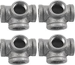 4 Pack Black 4 Way Pipe Fitting, IBEUTES 1/2 Inch Side Outlet Tee Malleable Iron Side Outlet Elbow - Threaded Pipe Nipples For DIY Decor Or Industrial Vintage Style