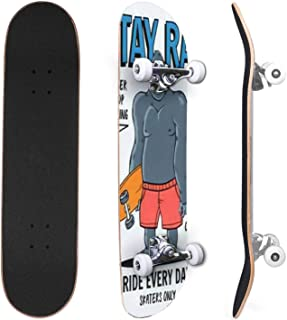 Classic Concave Skateboard Skateboards postcard Black and white skateboards background Top and Canadian Maple Trick Skateb...