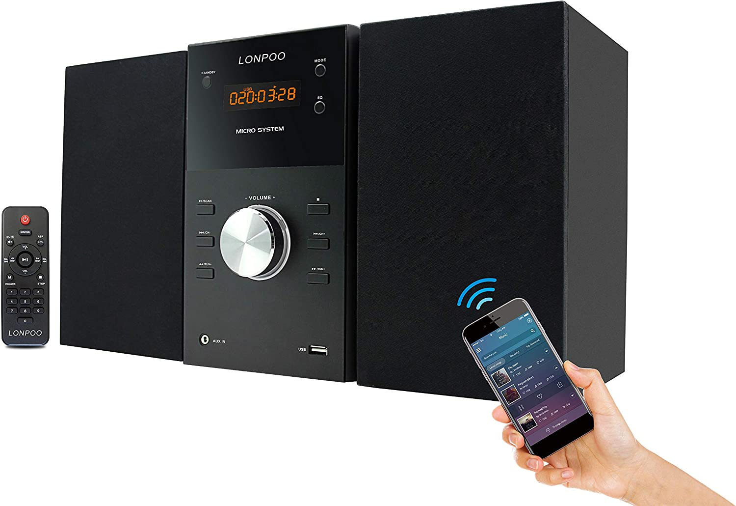 LONPOO Stereo Shelf System Hi-Fi High order Sound NEW before selling Player RMS CD 30W Speaker