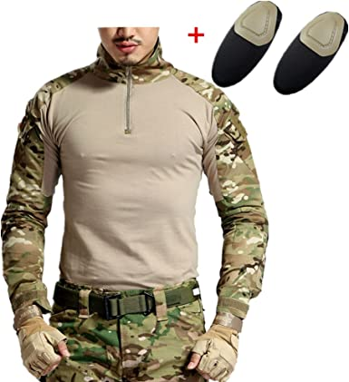 haoYK Camisa táctica de Airsoft de la Manga Larga de Paintball BDU Militar Camisas tácticas de Camo con Las Placas de Codo
