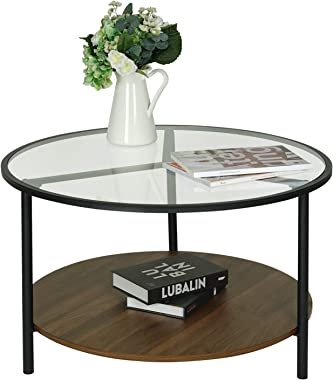 Moncot Round Coffee Table, Accent Table, 2-Tier Cocktail Table, Tempered Glass Top with Walnut Wooden Base and Sturdy Metal F