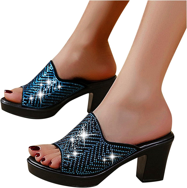 Xudanell Sandalias para Mujer Peep Toe Block Heeled Spare Heels Rhinestone Slides Slip On Leather Casual Summer De Verano