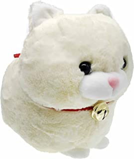 Fat Cat Stuffed Animal Fluffy Cat Plush Chubby Stuffed Kitten Plush Toy with Bell Adorable Gift for Kids Decoration 12 Inches Beige