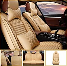 Jiahe Car Seat Cover for Toyota RAV4 C-HR Crown Hilux Yaris Verso Universal Car Seat Protectors 5-Seat Full Set Artificial Leather Waterproof,Easy Install,Beige Deluxe
