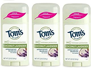Tom's of Maine Women's Natural Stick Antiperspirant, Coconut Lavender, 2.25 Ounce (Pack of 3)