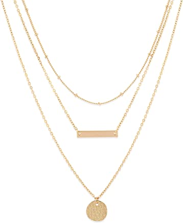 Fettero Dainty Layered Gold Chocker Necklace Handmade 14K Gold Fill Hollowout Heart Tassel Wafer Boho Chain