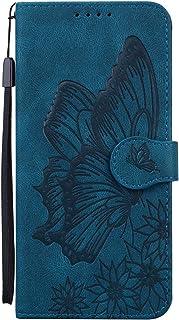 حافظة محفظة Mylne لهاتف OPPO A52 / A72 / A92 ، حافظة جلد PU مع فتحات بطاقة وحامل تتميز بتصميم فراشة ريترو غطاء واقي، أزرق
