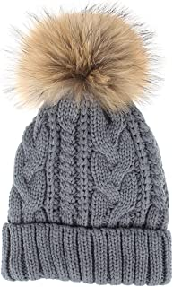La Vogue Women's Thick Cable Knit Beanie Hat with Soft Faux Fur Pom Pom