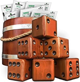Splinter Woodworking Co Yardzee & Yard Farkle Giant Yard Dice Set (All Weather) with Wooden Bucket, 5 Big Laminated Score Cards for Each Game, Marker | 20+ Games Included | Big Backyard Lawn Game