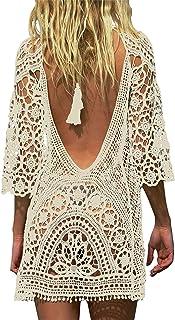 Traje de Baño, Vestido de baño de Bikini con Encaje de Crochet y Espalda Abierta de Mujer