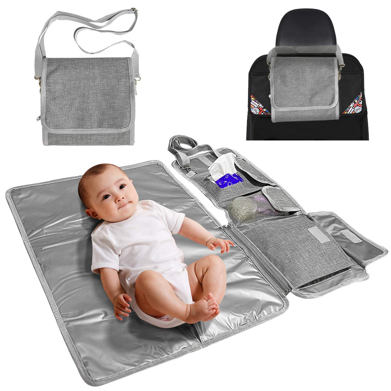 Entyle Portable Changing Pad, Baby Diaper Bag for Newborn Boy Girl, Lightweight Foldable Travel Mat Station, Waterproof Travel Changing Station Bag Kit with Wipes Pocket(Grey)