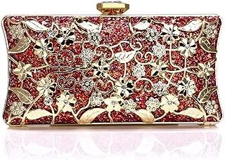 Redland Art Women's Fashion Sparkly Clutch Bag Wristlet Evening Handbag Catching Purse Bag for Wedding Party (Color : Red)