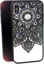 iPhone X Case,Tropical Flower Printed Slim Fit Case for Girls Soft Bumper Shockproof Hard Matte Back Cover Lace Totem Henna Design for iPhone X XS iPhone 10,Black Floral Mandala