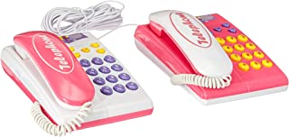 Toy Twin Telephones Wired Intercom Children's Kid's Toy Telephone Set w/ 2 Telephones, Ringing Sound, Talk to Each Other
