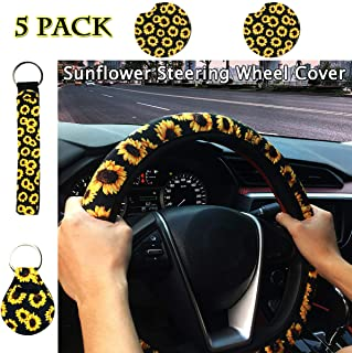 PorporBooya Sunflower Steering Wheel Cover+2 Pack Car Coaster + 2 Pack Coin Key Chain   Cute and Fashionable Universal Sunflower Steering Wheel Cover with, Sunflower car Accessories