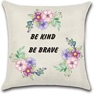 NKIPORU Inspiration Quote Pillows Covers Be Kind Be Brave Cotton Linen Square Decorative Throw Pillowslips Cushion Cover H...