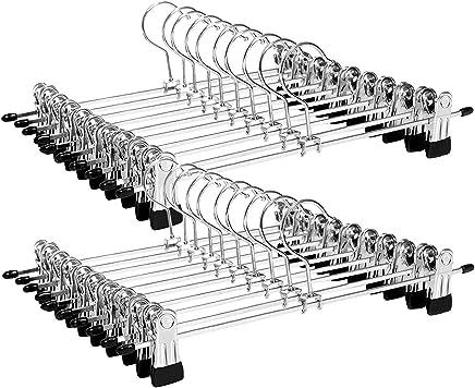SONGMICS Perchas para Pantalones Faldas 20 Unidades, Metal, 40 x 10,5 cm, Extra Anchas, Antideslizantes,  Color Plateado CRI006-20