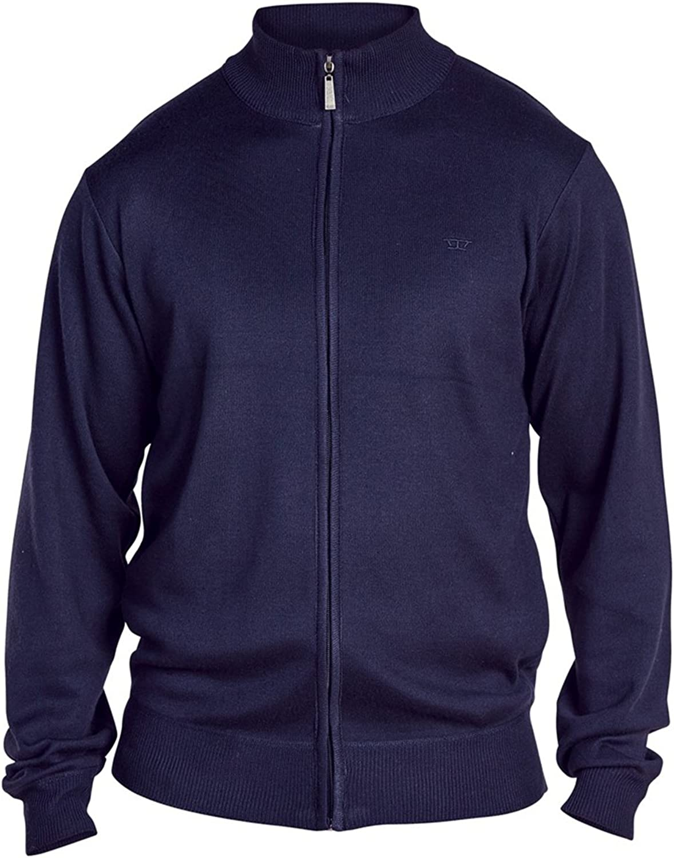 Duke D555 Mens King Size Big Tall Milburn Plain Full Zip Sweater