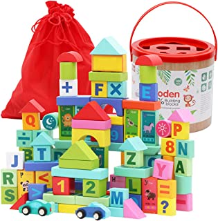Wooden ABC Blocks 100PCS Stacking Blocks Baby Alphabet Letters, Counting, Building Block Set with Mesh Bag for Toddlers