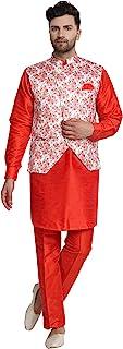 SKAVIJ Men's Silk Blend Kurta Pajama and Jacket (Waistcoat) Set
