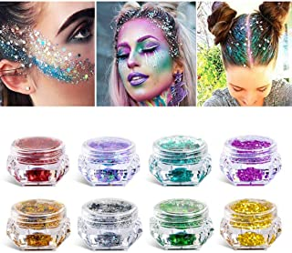 8 Boxes Makeup Face Body Glitter, 6 Colors Loose Holographic Cosmetic Chunky Glitter for Halloween, Face, Eye, Body, Hair,...