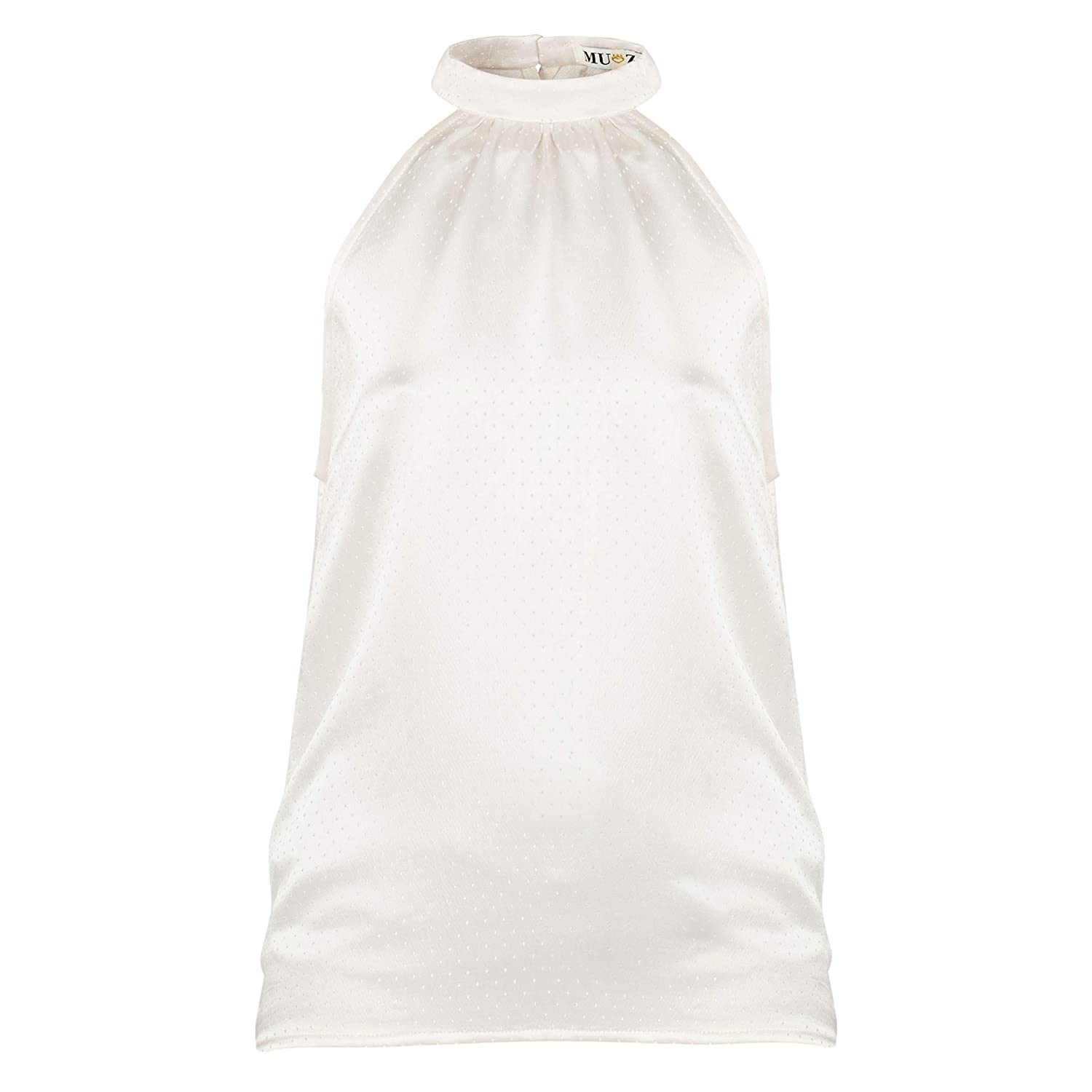 MUZA White Sleeveless 1 year warranty A surprise price is realized Halterneck for Top Women