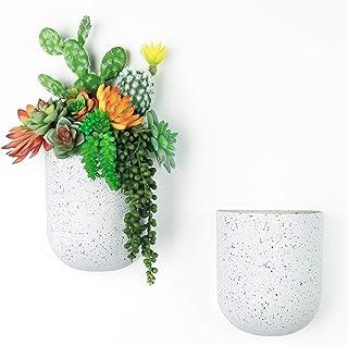 LA JOLIE MUSE Wall Hanging Planter Set of 2 - Modern Flower Pots with Hanging Holes, Vertical Garden Pots for Indoor, Spec...