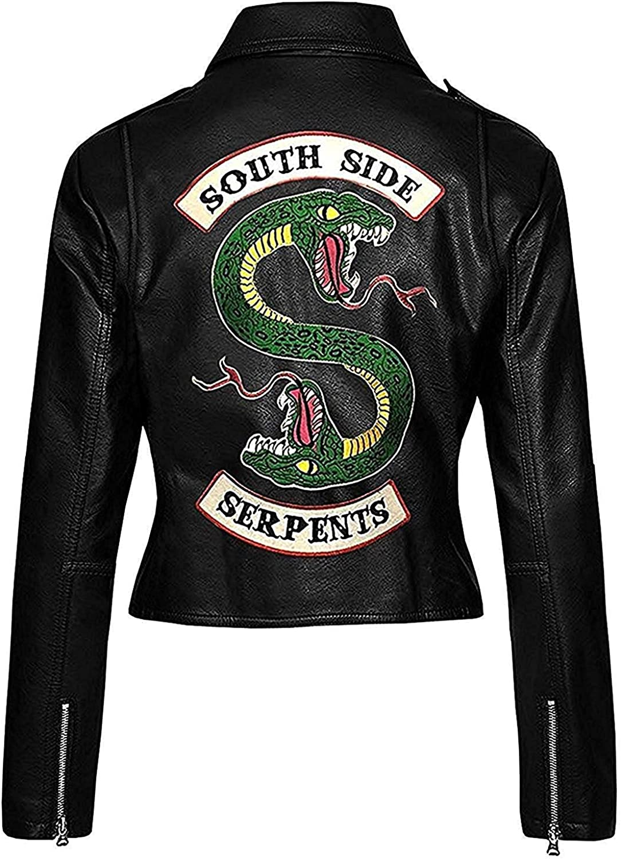 R&B Fashions Women Biker Black Faux Leather Jacket with Snake Gang Logo Motorcycle Jacket