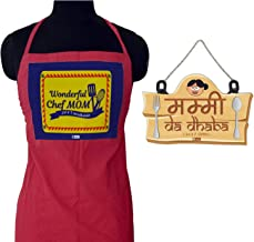 Indigifts for Mom | Gift for Mother | Mummy Da Dhaba Brown Wall Hanging 8X12.5 Inches & Apron | Gift for Mothers Day