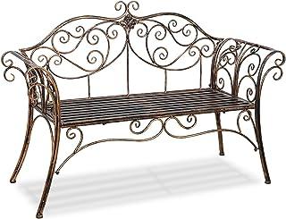 Antique Bronze Metal Garden Bench Chair 2 Seater for Garden, Yard, Patio, Porch and Sunroom