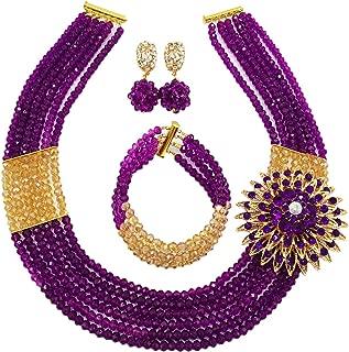 aczuv Nigerian Wedding African Beads Jewelry Set Crystal Beaded Necklace Earrings
