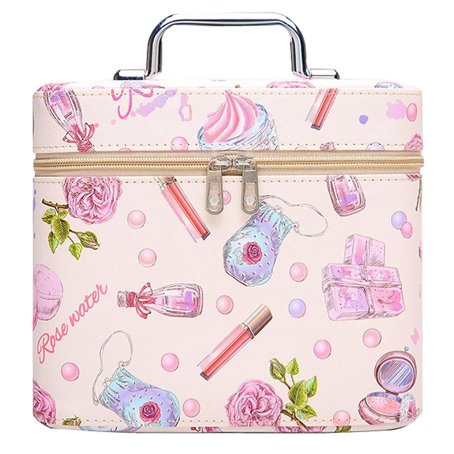 順応性宿題をするスプーンメイクボックス プロ 人気 コスメボックス 鏡付き 大容量 かわいい 化粧ボックス プロ 軽量 持ち運び (ピンク)
