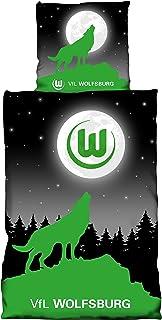 VFL Wolfsburg Bettwäsche Moon Glow in The Dark Leuchteffekt Bezug 135x200cm Kissen 80x80cm 100% Baumwolle one Size Limited Edition