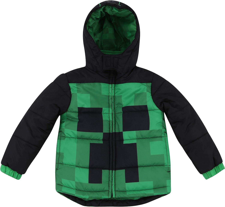Boys Minecraft Warm Winter Puffer with Hood Jacket Coat