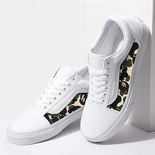 Vans White Old Skool x Bape Camo Pattern Custom Handmade Shoes By Fans Identity
