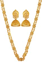 GoldNera Gold Plated Non-Precious Metal Goddess Laxmi Necklace with Ethnic Jhumka Temple Jewellery Set for Girls/Women