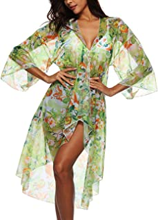 Womens 3/4 Sleeve Floral Print Swimsuit Cover Up Long Open Kimono Cardigan